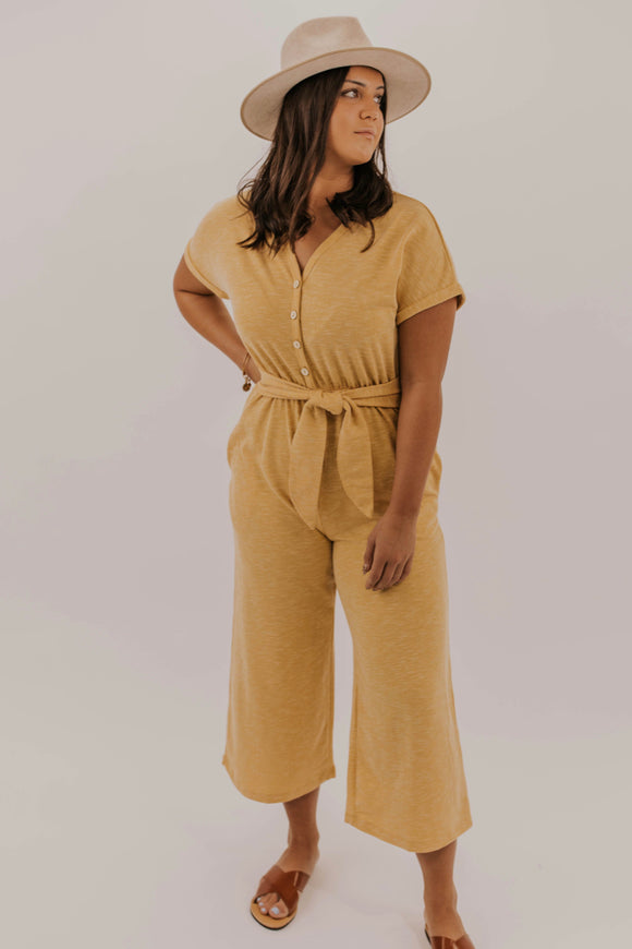 Yellow Stretch Jumpsuit | ROOLEE