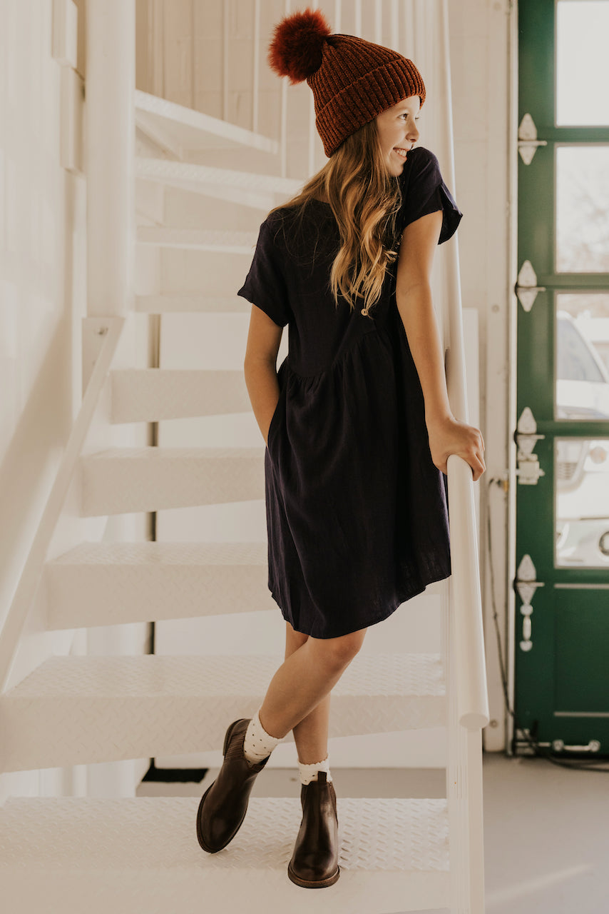 Navy Button Up Girls Dress | ROOLEE