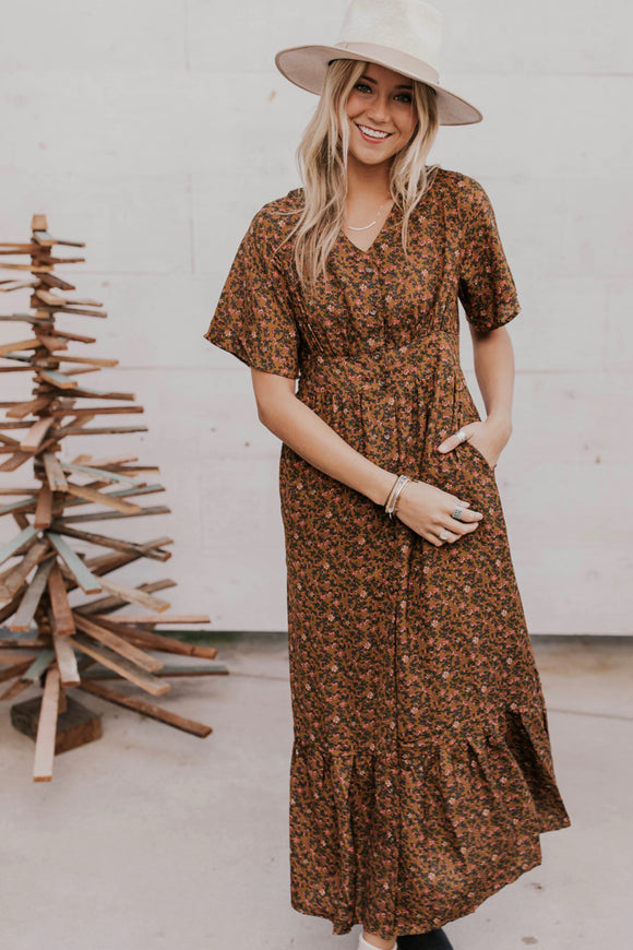 Button Down Dress with Tiny Floral Print | ROOLEE