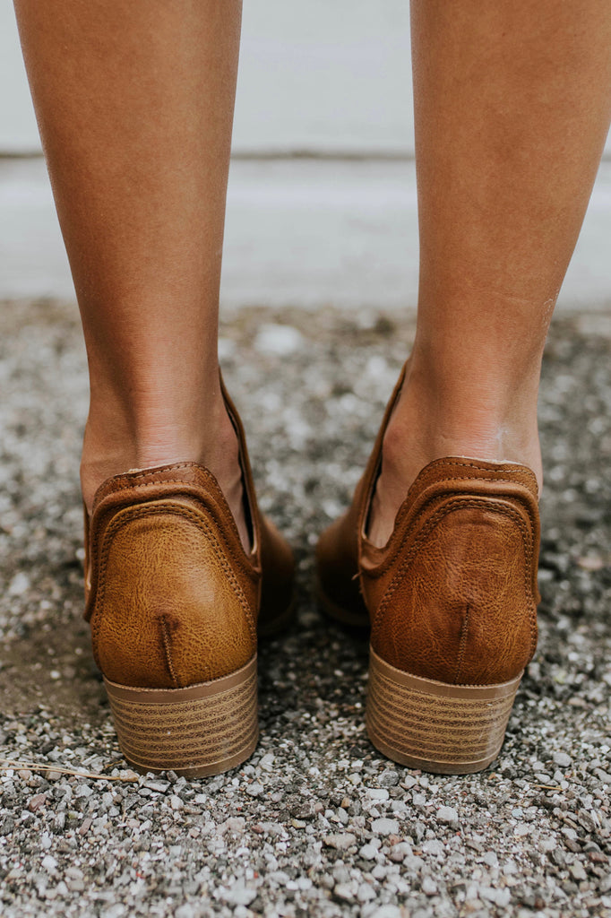 Faux Leather Booties in Cognac | ROOLEE