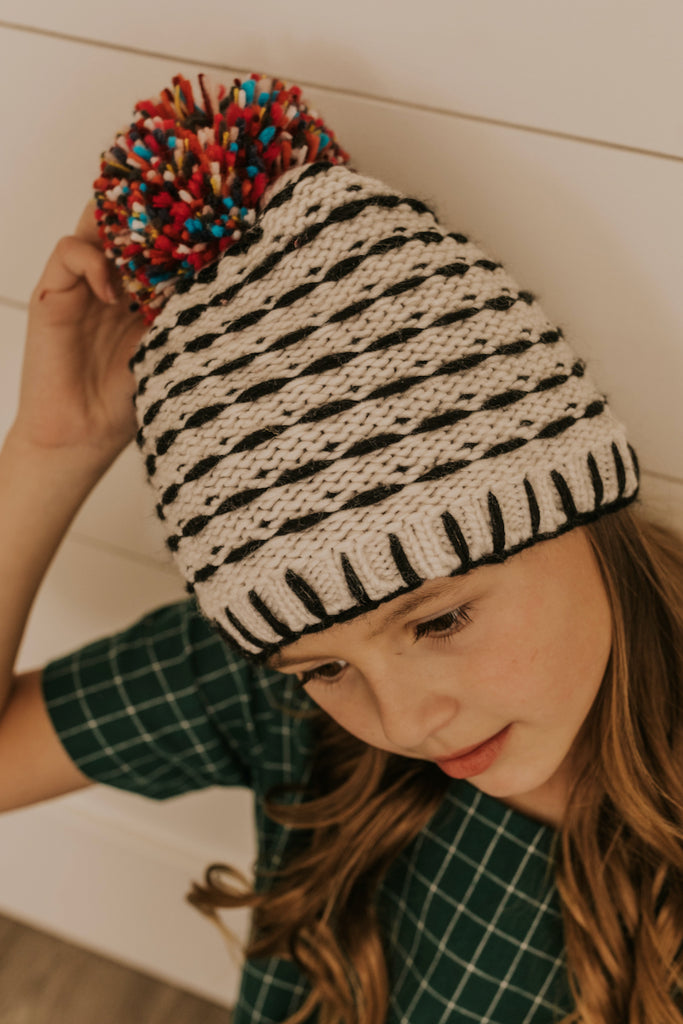 Black and White Kids Beanie | ROOLEE