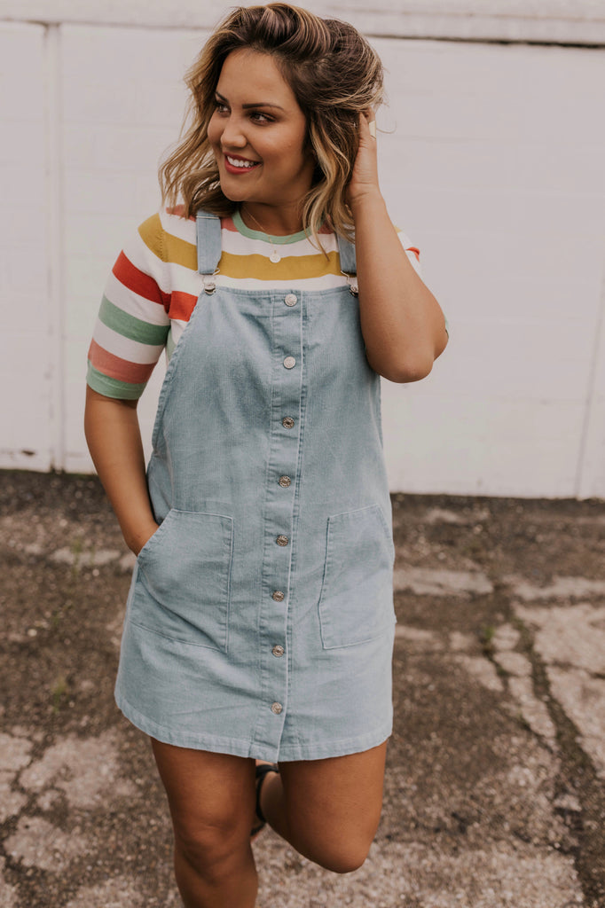 Overall Dress and Striped Shirt Outfit | ROOLEE
