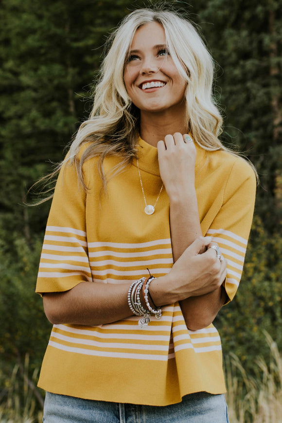 Francine Stripe Sweater in Gold | ROOLEE