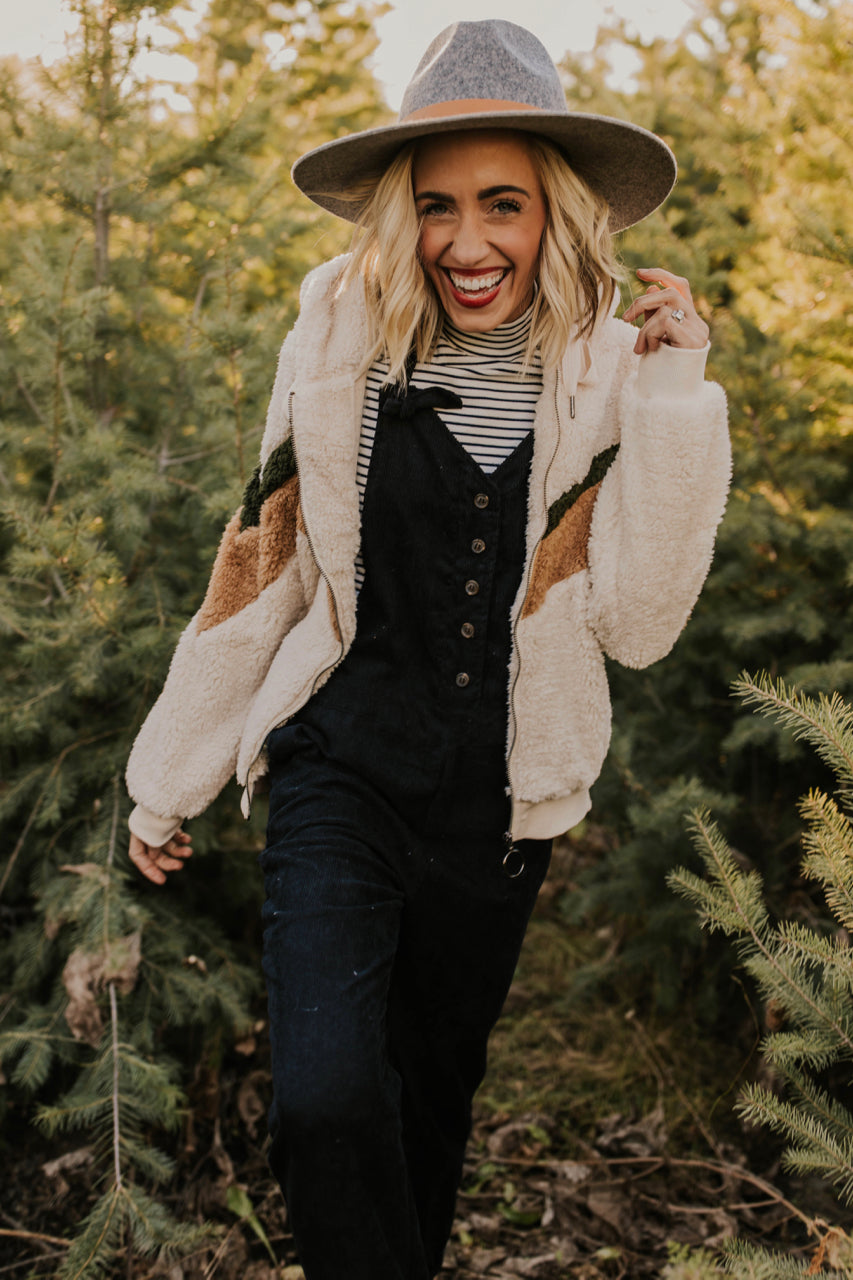 Fuzzy Hooded Chevron Jacket | ROOLEE