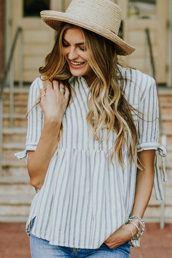 The Kenzie Button Peplum | ROOLEE