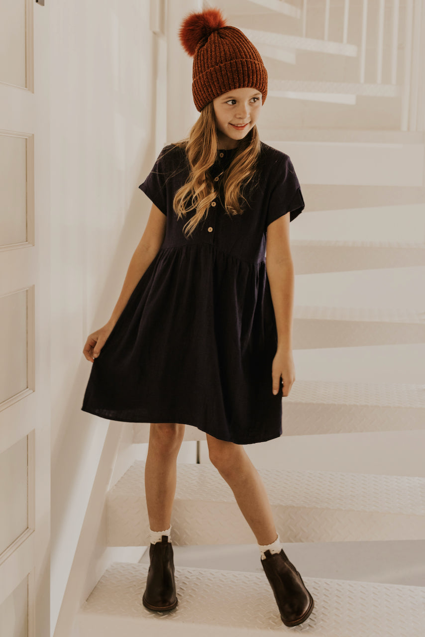 Navy Short Sleeve Winter Button Up Girls Dress | ROOLEE