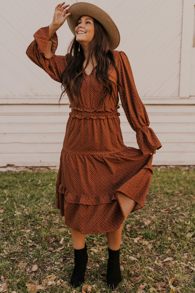 Midi Dress with Ruffles | ROOLEE