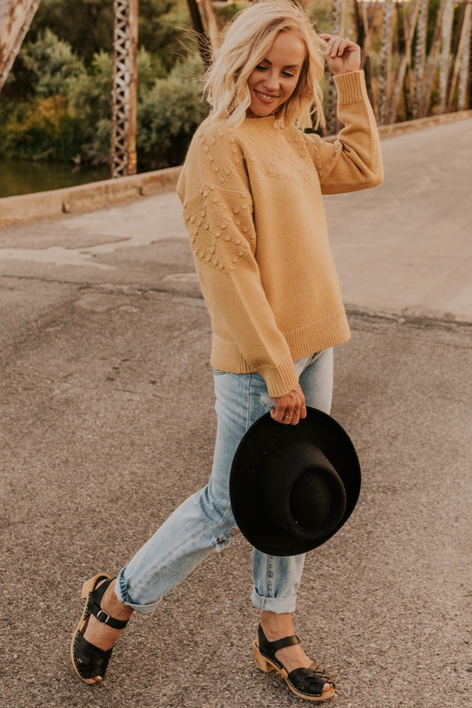 Mustard Textured Sweater | ROOLEE