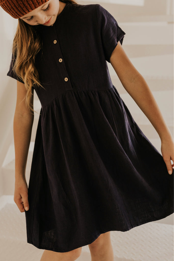 Dark Navy Blue Button Dress for Girls | ROOLEE