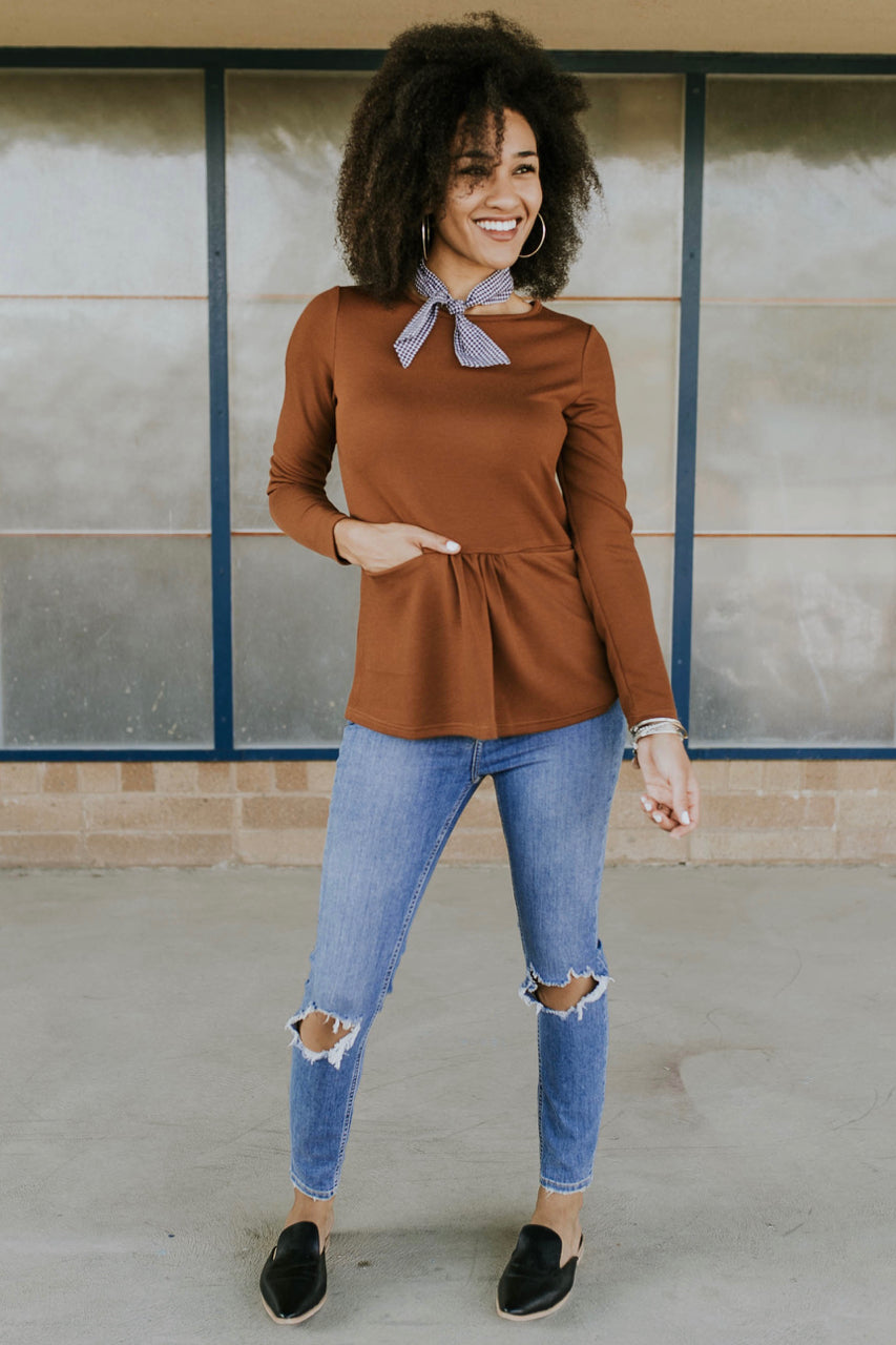 Long Sleeve Pocket Peplum in Copper | ROOLEE