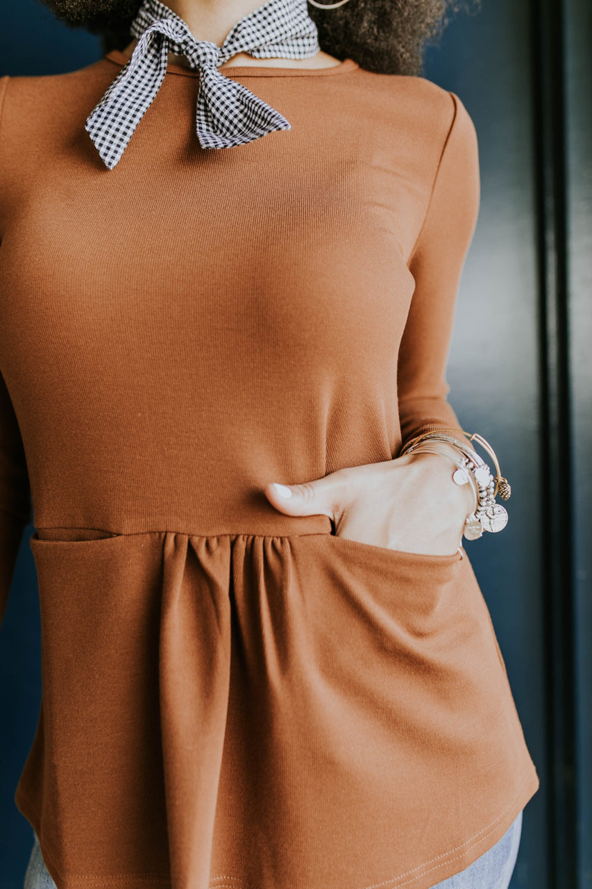 Long Sleeve Knit Peplum in Rust | ROOLEE
