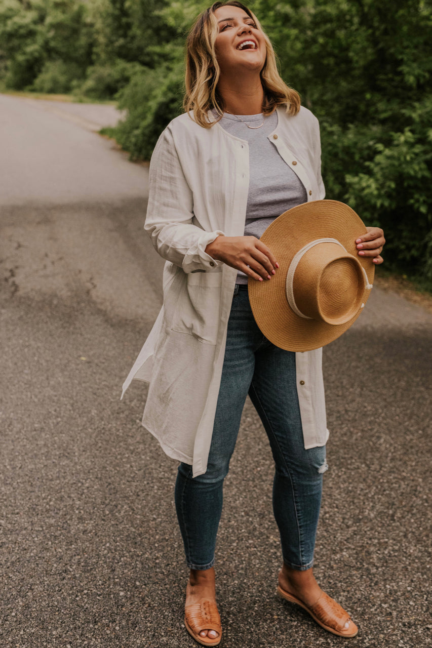Women's Long White Cardigan | ROOLEE