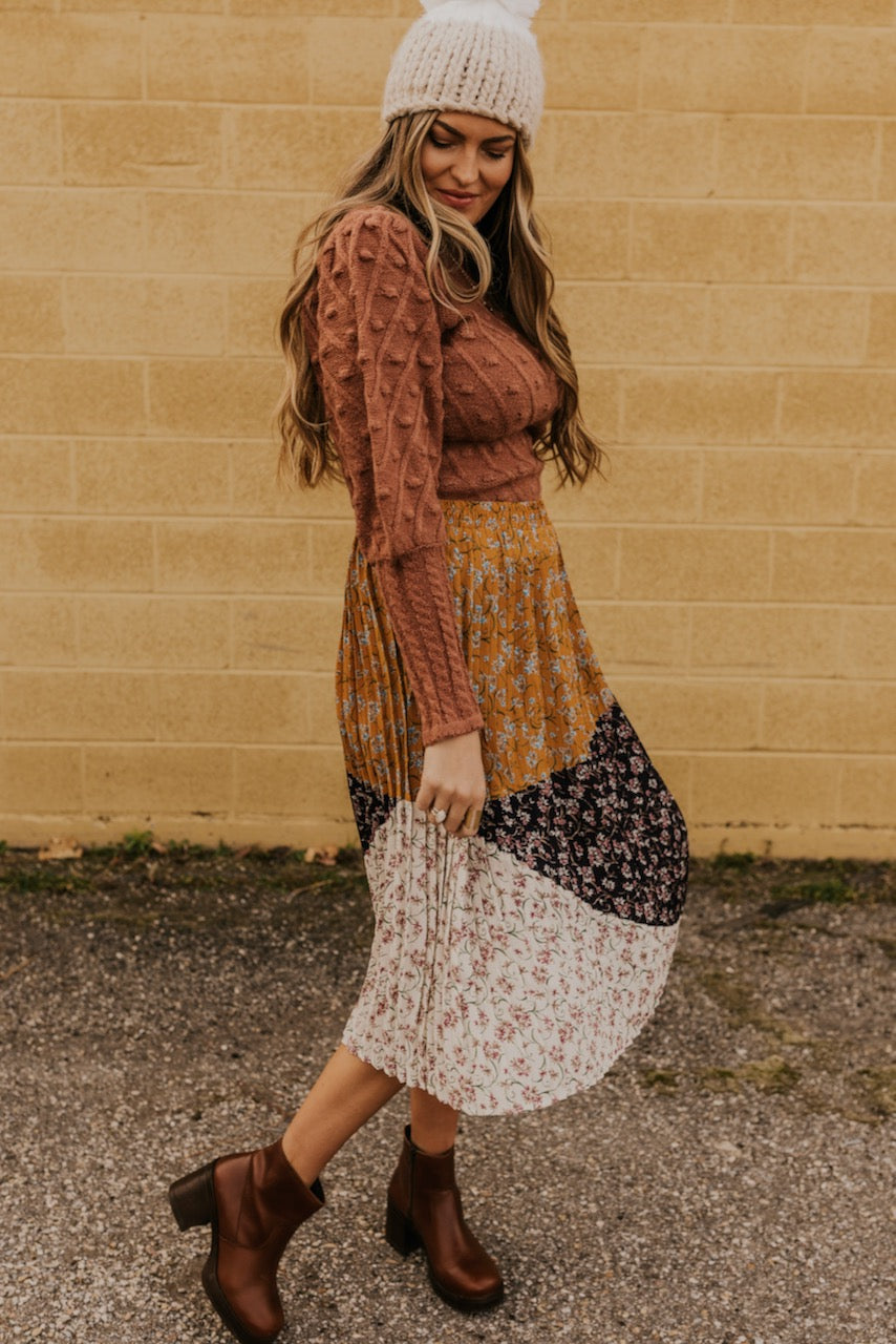 Midi Skirt with Patchwork Print | ROOLEE
