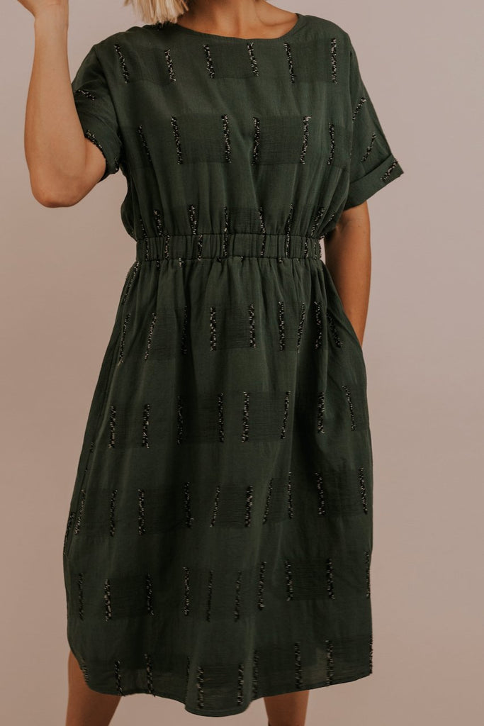 Elastic Waist Pattern Texture Dress | ROOLEE