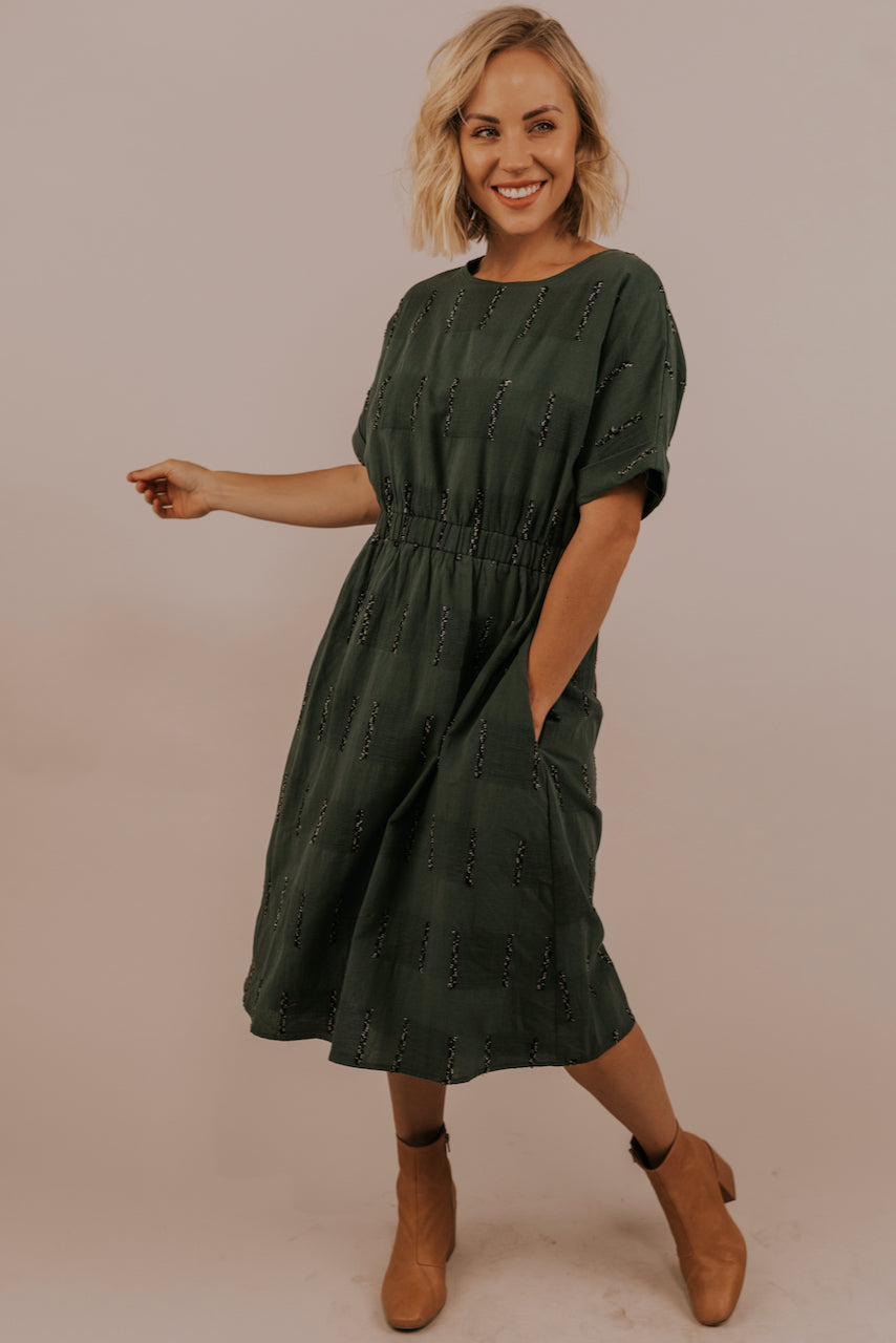 Green Textured Dress | ROOLEE