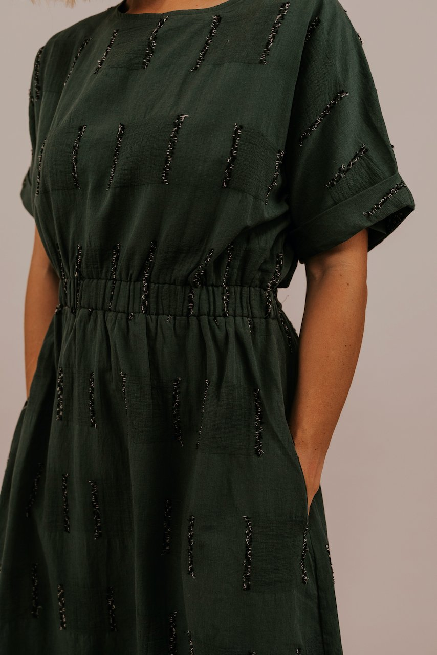 Boat Neck Green Dress | ROOLEE