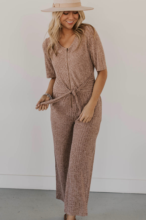 Knit Jumpsuit With Waist Tie | ROOLEE