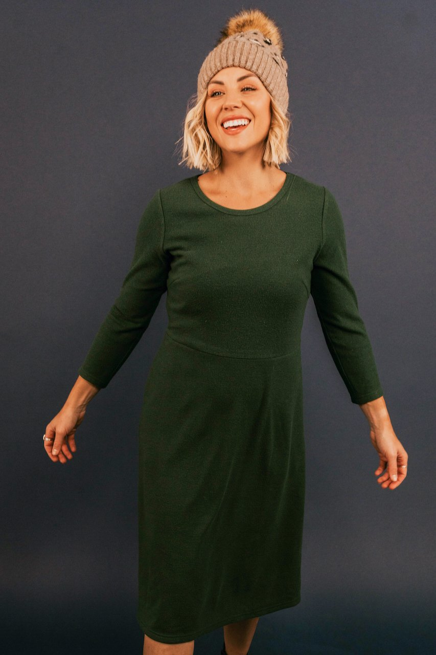 Long Sleeve Green Knit Dresses | ROOLEE