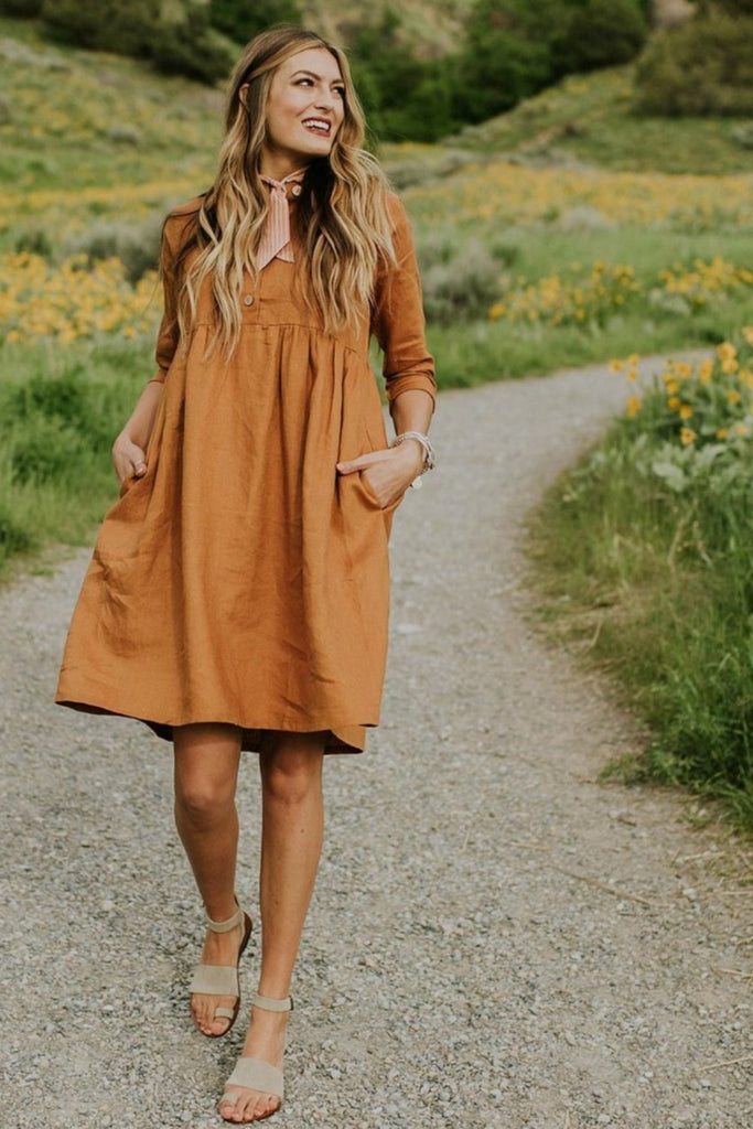 The Delacour Dress in Copper | ROOLEE