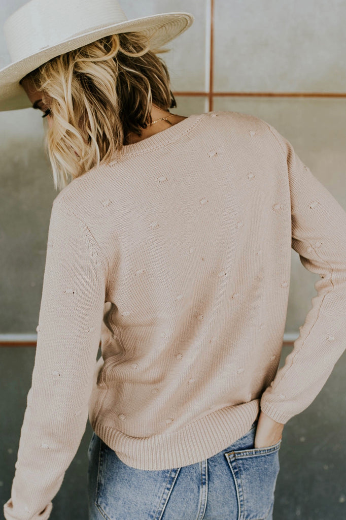 Long Sleeve Pom Pom Sweater in Blush | ROOLEE