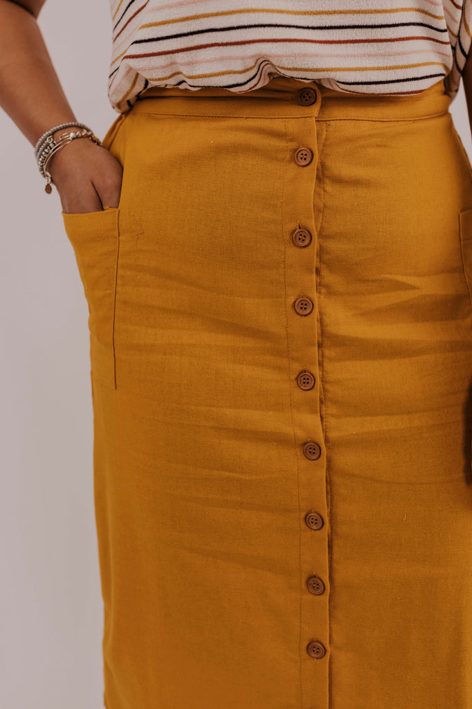 Mustard Button Skirt | ROOLEE