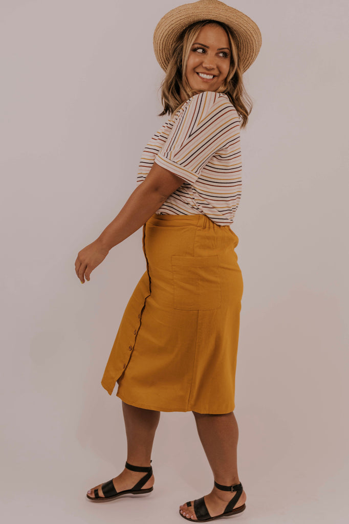 Mustard Button Front Skirt | ROOLEE