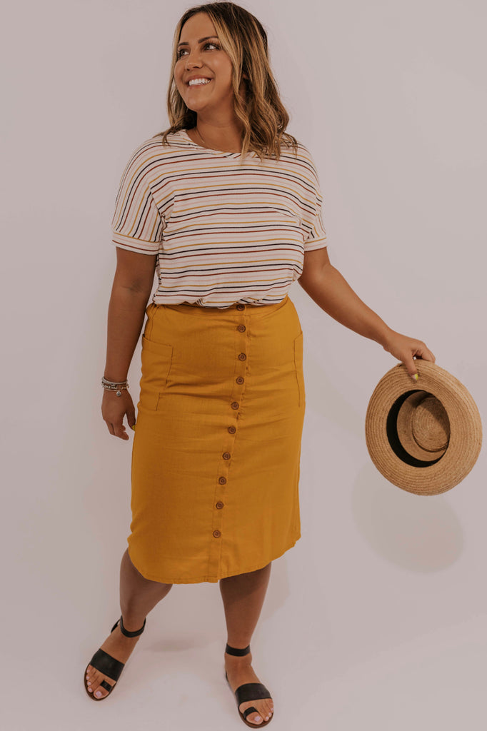 Yellow Button Skirt | ROOLEE