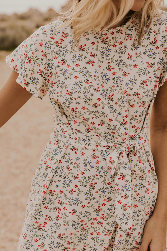 Tie Waist Floral Dress | ROOLEE