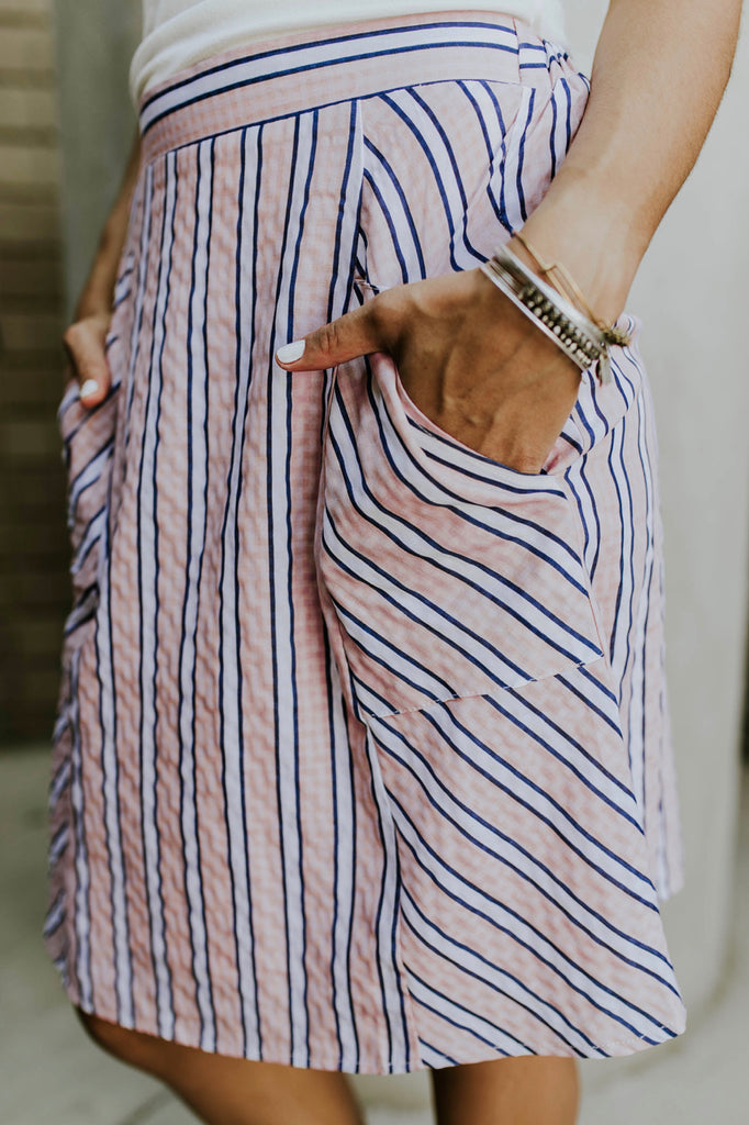 Salmon Stripe Skirt with Pockets | ROOLEE