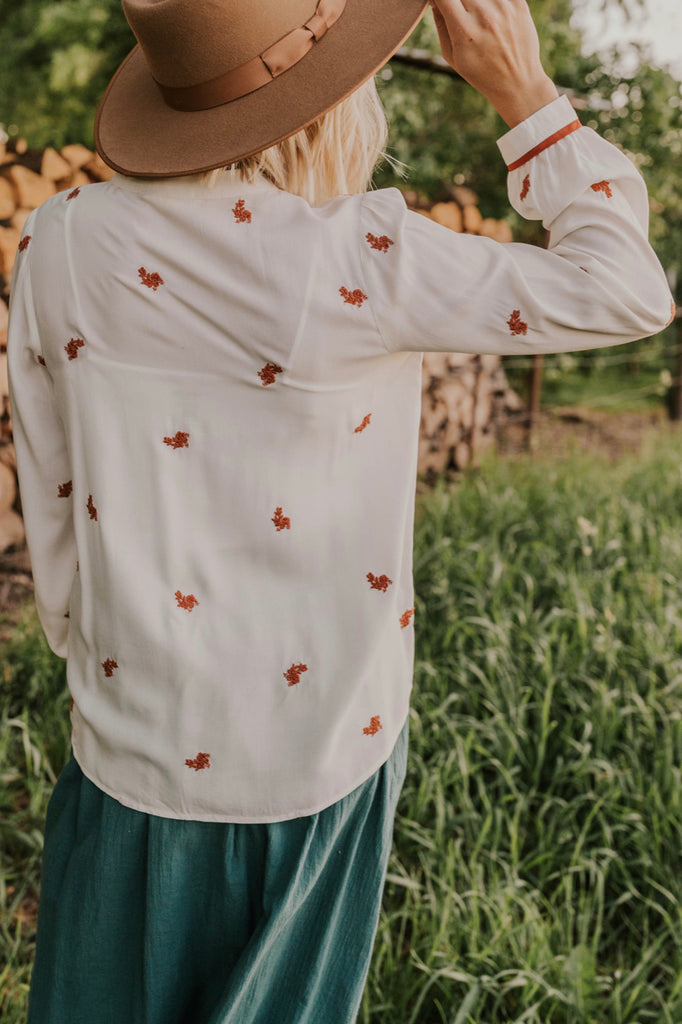 Long Sleeve Shirt with Rust Detailing | ROOLEE