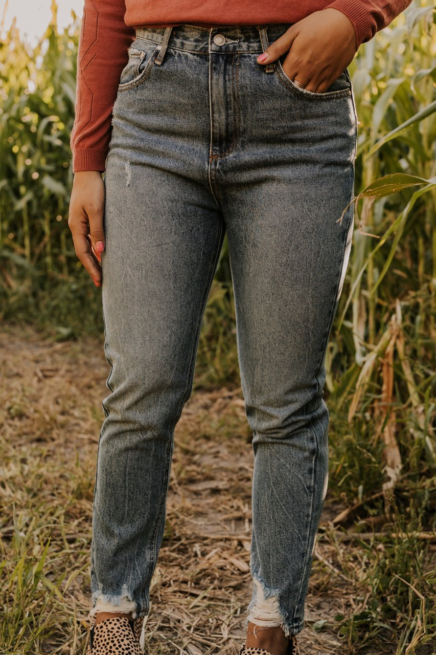 High Rise Distressed Mom Jeans | ROOLEE