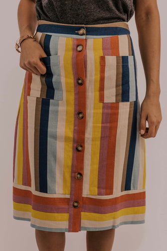 Button Striped Skirt | ROOLEE