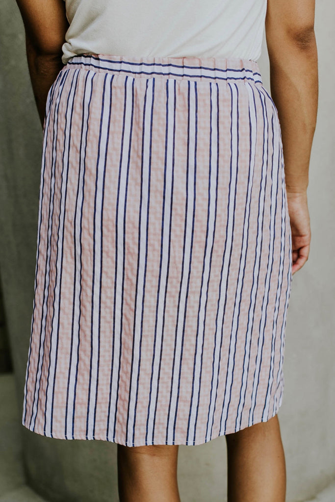 Salmon Pink Stripe Skirt with Pockets | ROOLEE