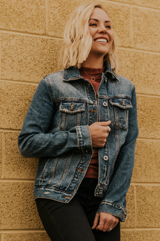 Long Sleeve Dark Denim Jacket | ROOLEE
