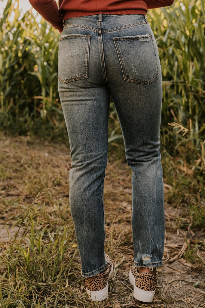 Dark Wash Distressed Denim Jeans | ROOLEE