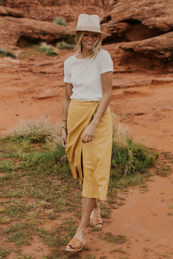 Yellow Wrap Skirt | ROOLEE