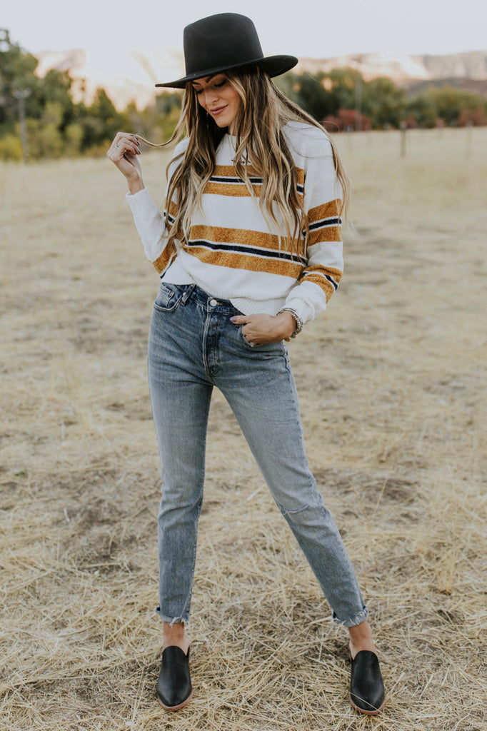 Striped Sweater Outfit for Fall | ROOLEE