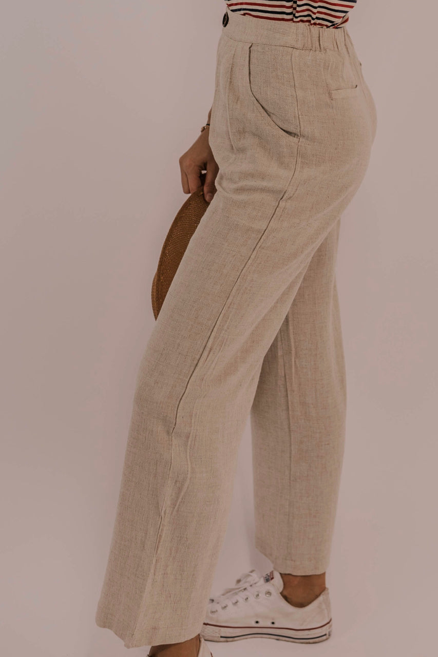 Linen Pocket Wide Leg Pants | ROOLEE