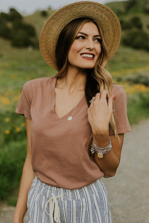 Light Faded Coral Short Sleeve Top | ROOLEE