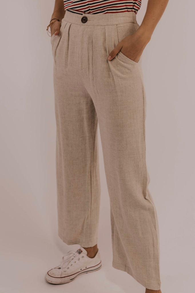 Wide Leg Button Linen Pants | ROOLEE