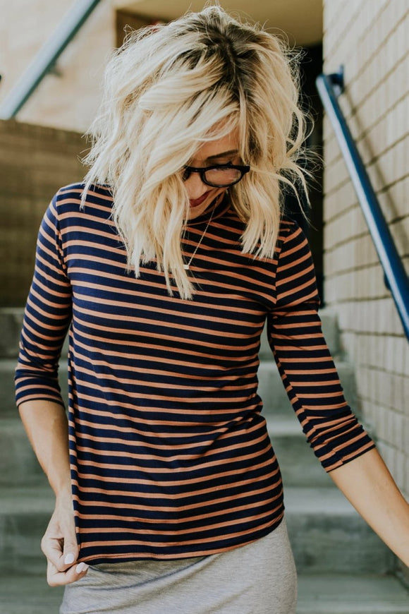 Copy of Kinley Stripe Top in Navy | ROOLEE