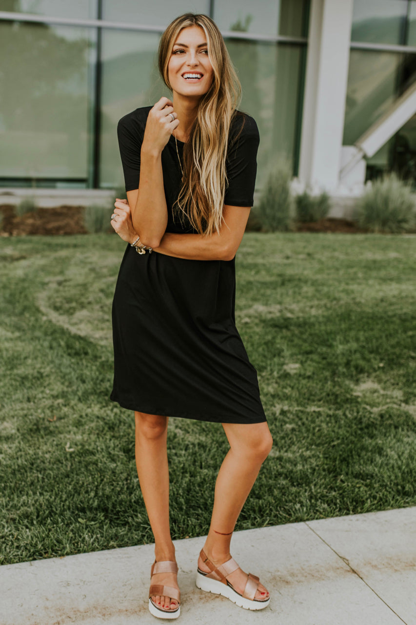 Casual Black Tee Dress For Women | ROOLEE