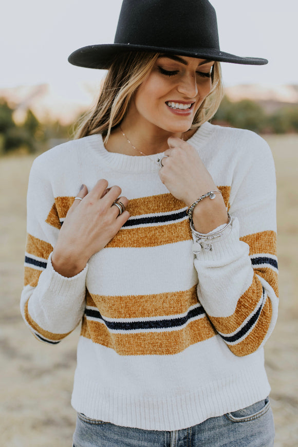 Snyder Stripe Sweater in Ivory | ROOLEE