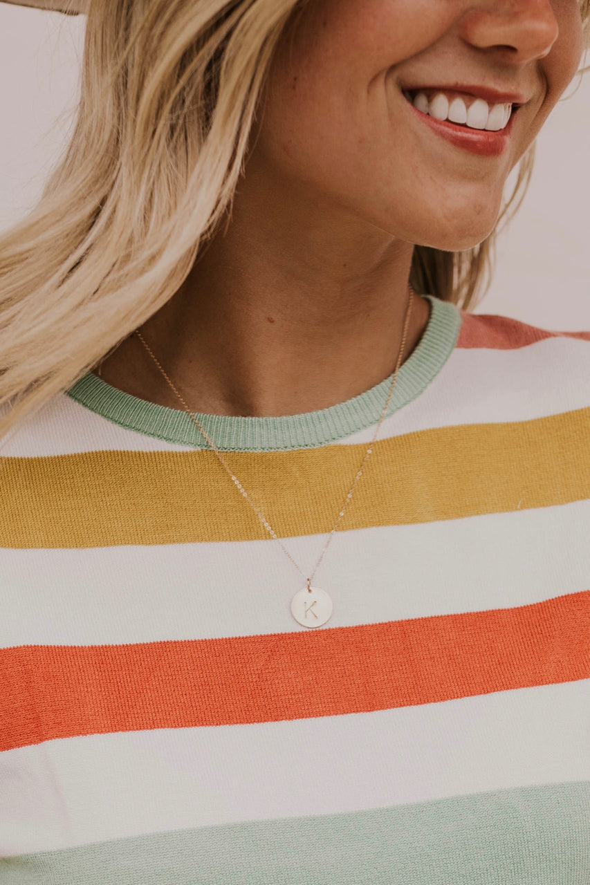 Gold Simple Initial Necklace | ROOLEE