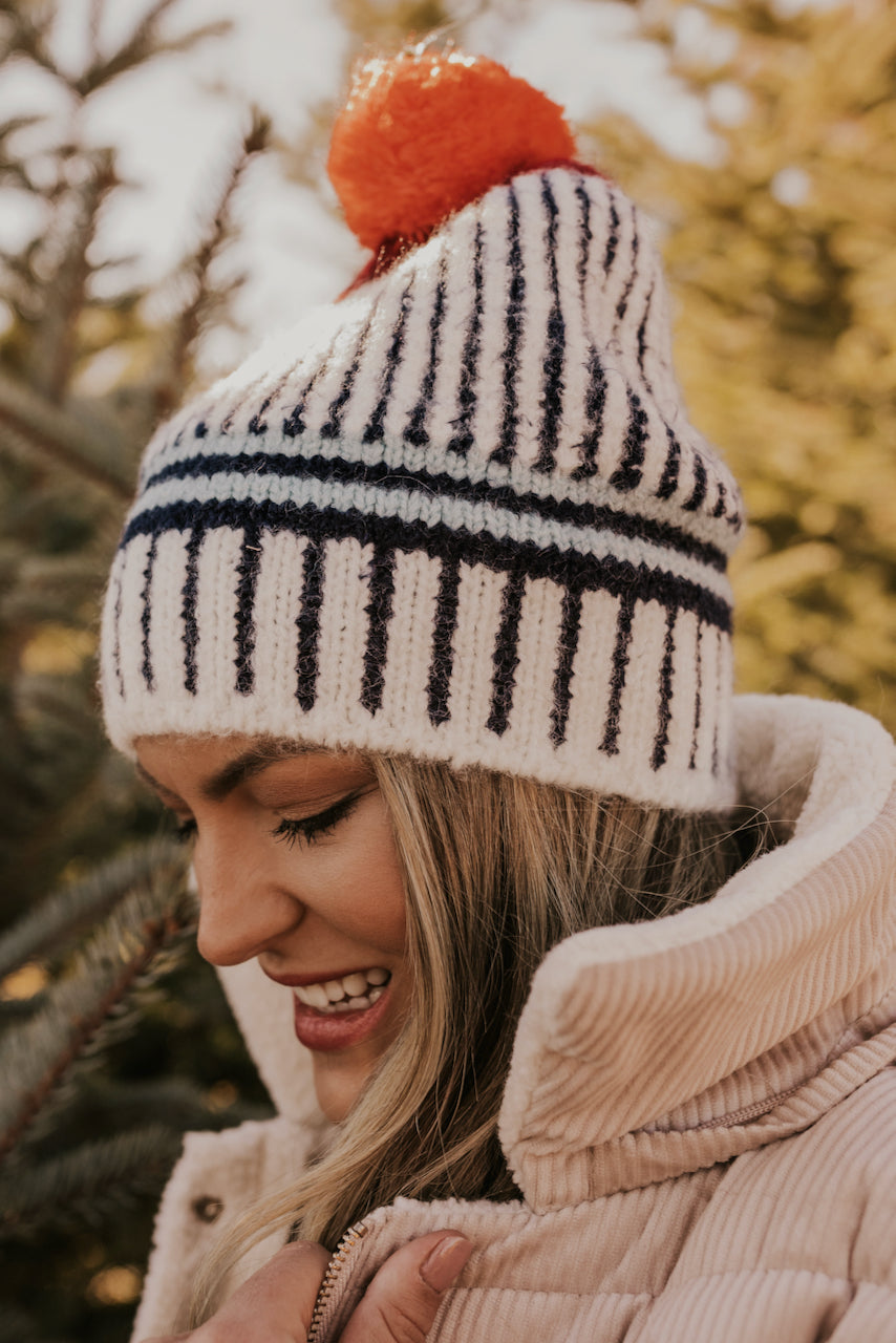 Navy Stripe Graphic Beanie | ROOLEE