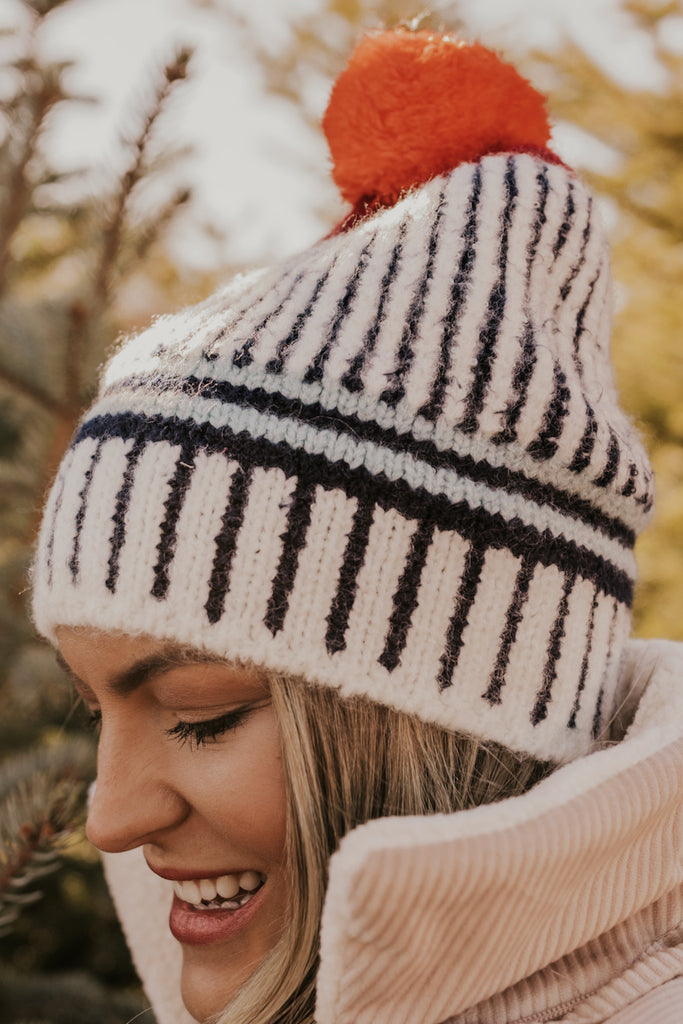 Blue Stripe Beanie with Pom | ROOLEE