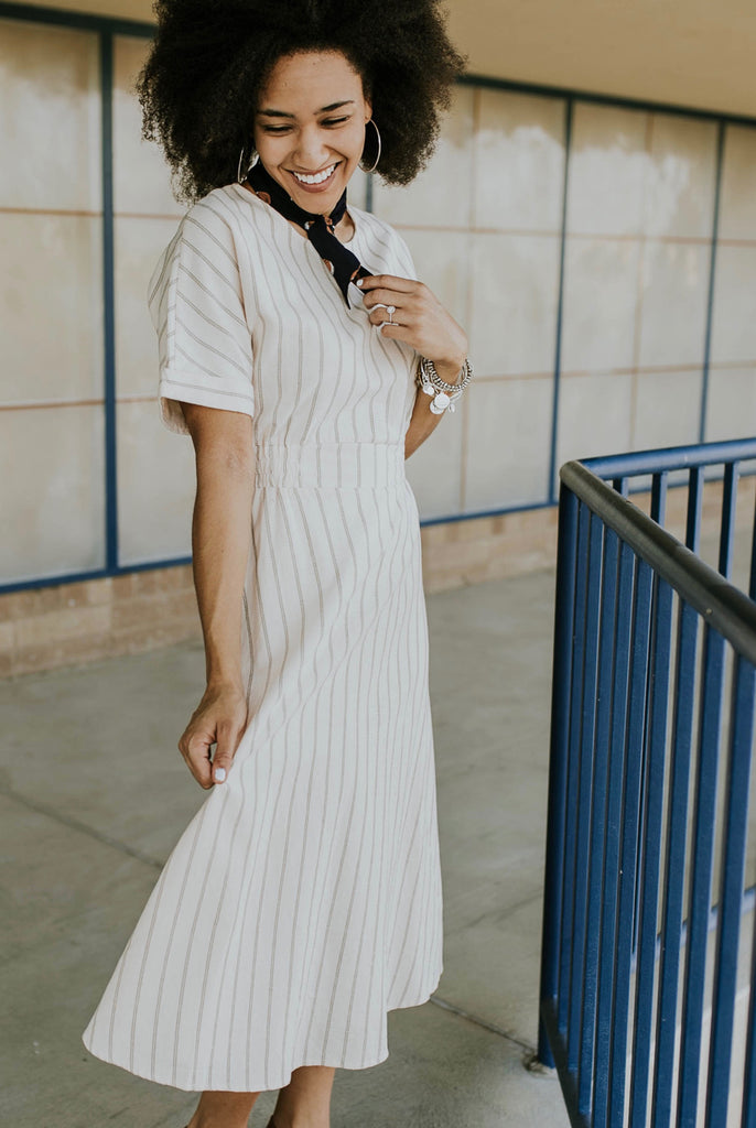 White Striped Dress Outfit | ROOLEE