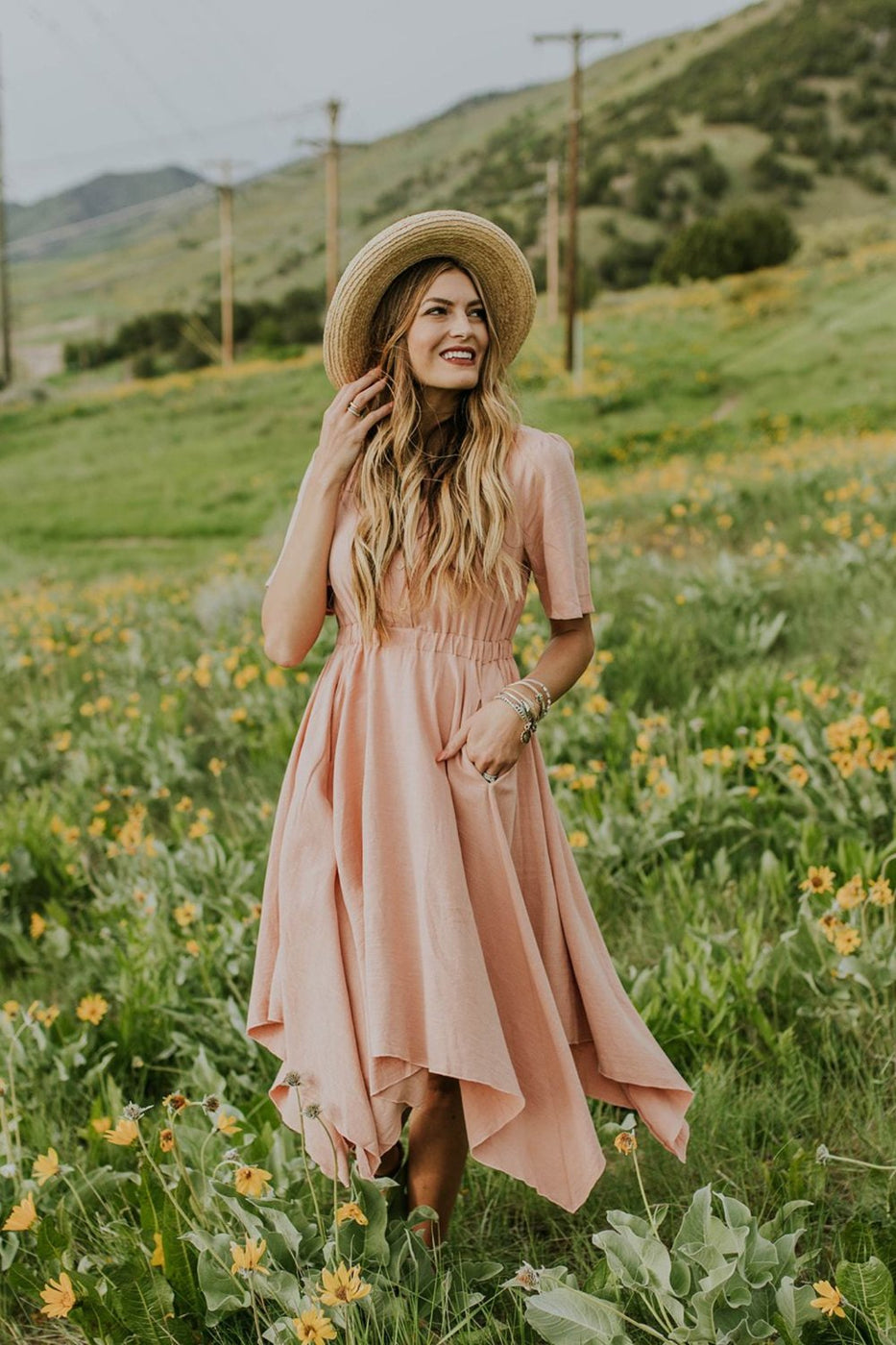 Zoe Midi Dress in Blush | ROOLEE