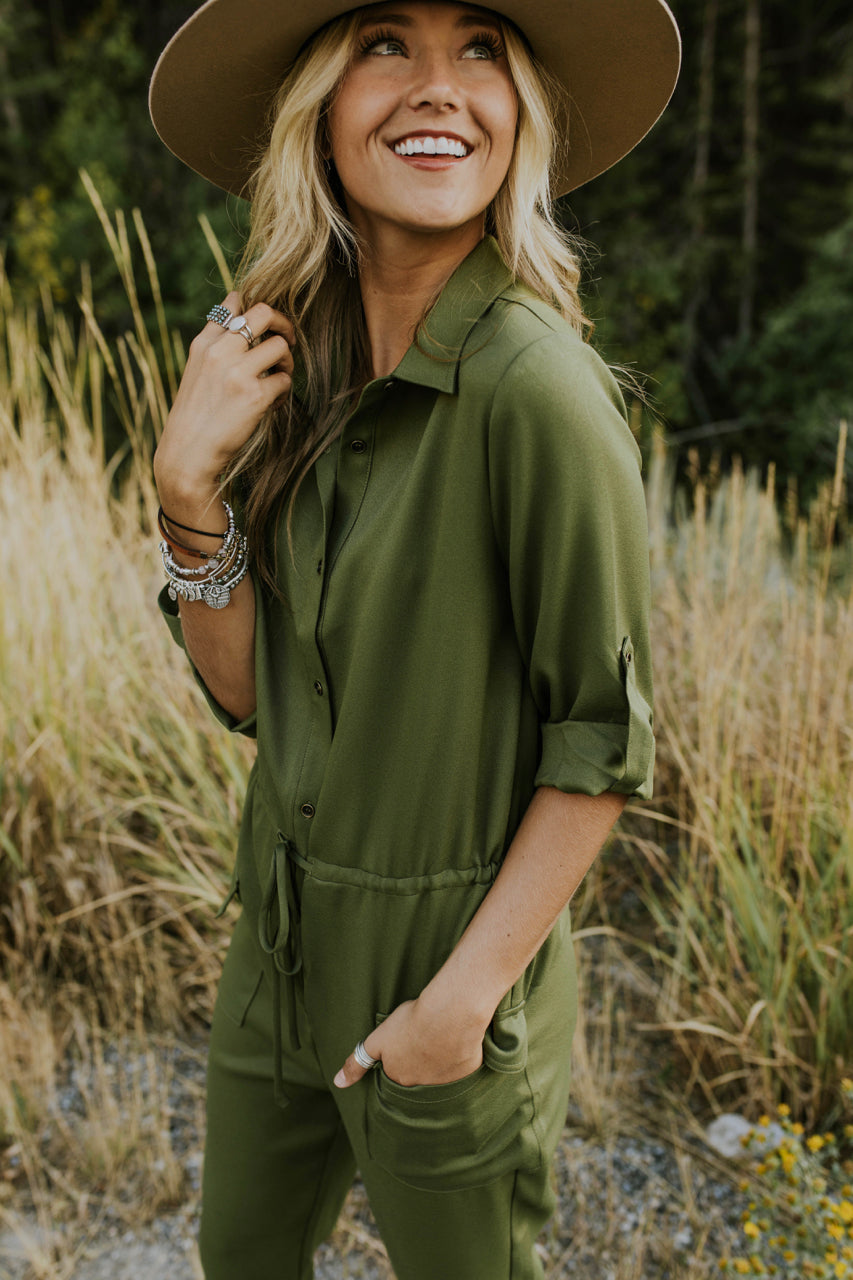 3/4 Sleeve Button Jumpsuit | ROOLEE