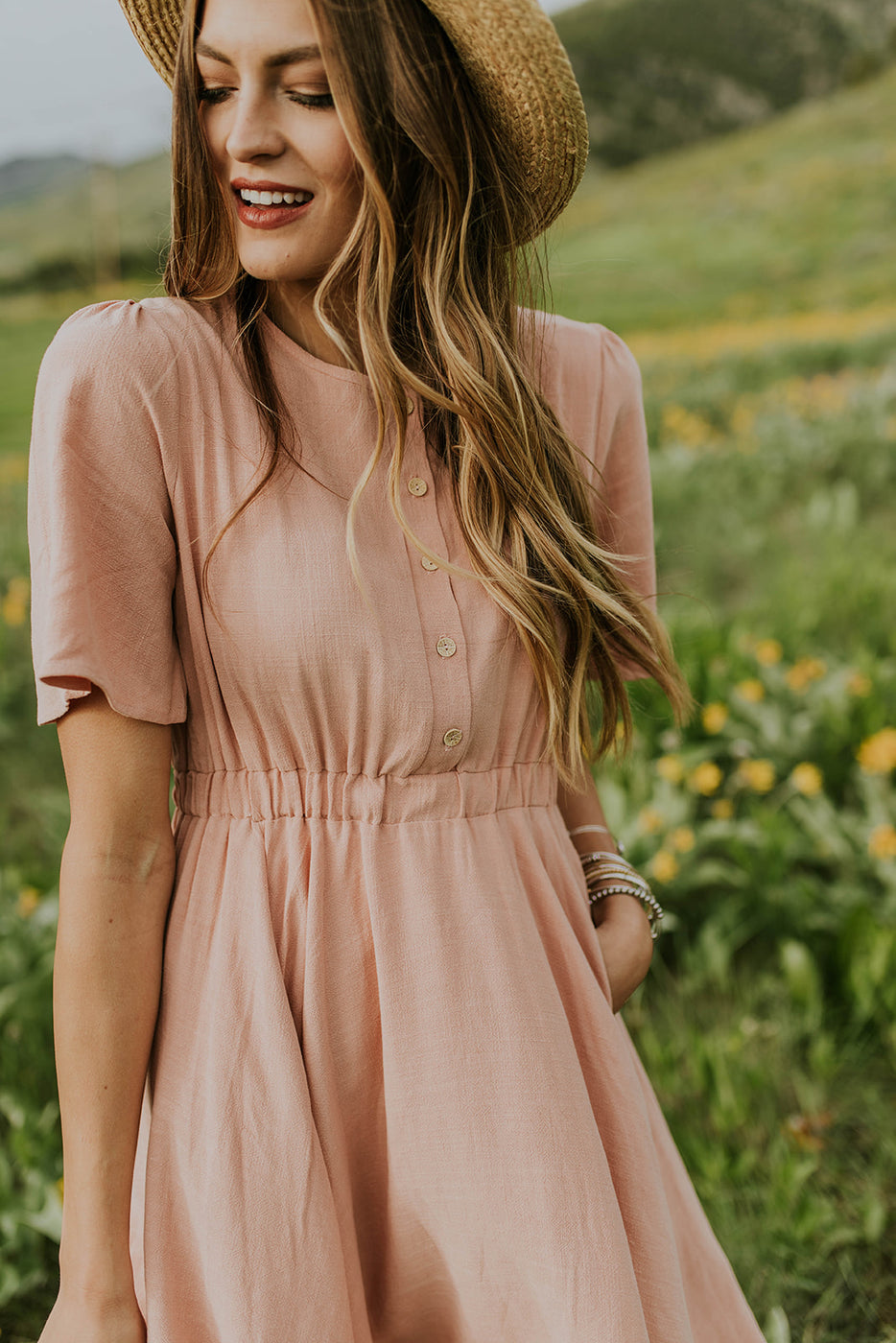 Blush Pink Button Up Dress | ROOLEE